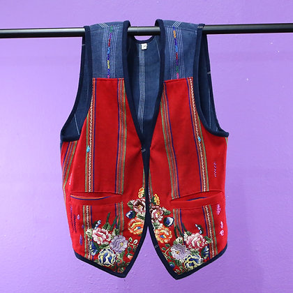 Guatemalan Vest - Navy Red, Embroidered