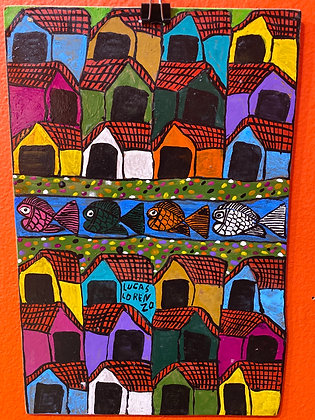 Painting - Houses and Fish