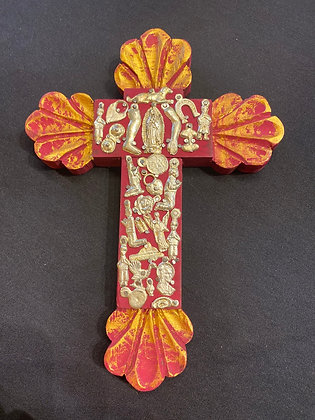 Cross - wood embelished w/ small milagros (red & silver)