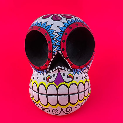 Small Calavera, Wood, Hand Painted
