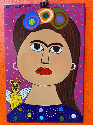 Painting - Frida w/ jaguar angel