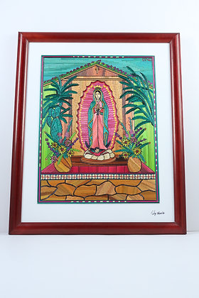 Virgen with nopal/Brown Flower Vases