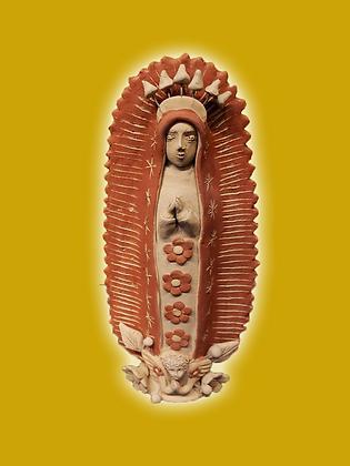 Standing Clay Virgen w/ flowers