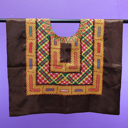Brown w/ 3 Chain Strips Embroidered