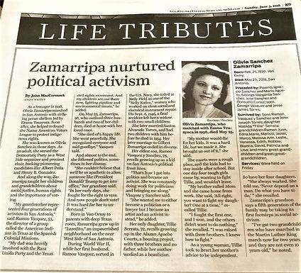 Olivia Sánchez Zamarripa obituary, San Antonio Express News, June 3, 2018