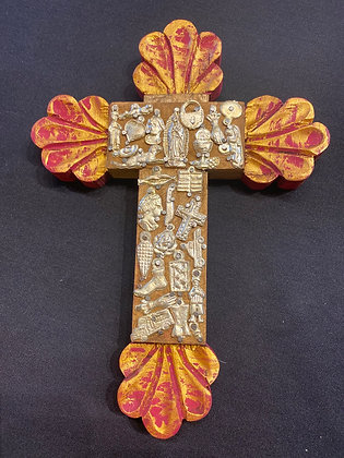 Cross - wood embelished w/ small milagros (wood color & siver)