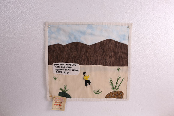 Man crossing mountain