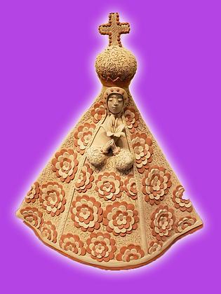 Large Clay Virgen w/ Flowers