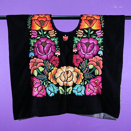 Black Velvet w/ Orange flower Embroidered on top