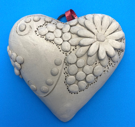 Grey Hanging Clay Heart
