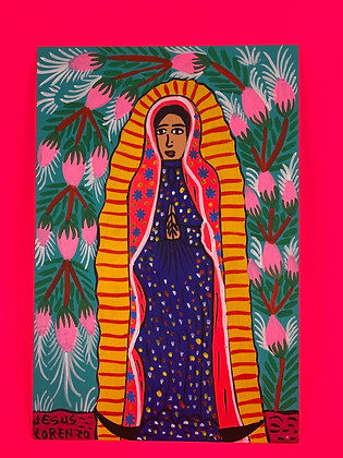 Painting - Guadalupe w/ flowers