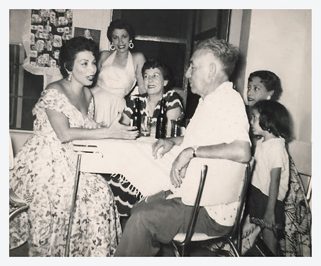 Eva Garza with father and family