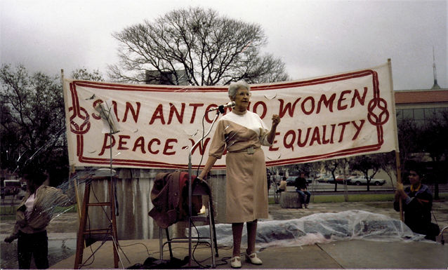 Emma Tenayuca, speaking at the Esperanza Peace and Justice Center International Womens Day March, in 1985