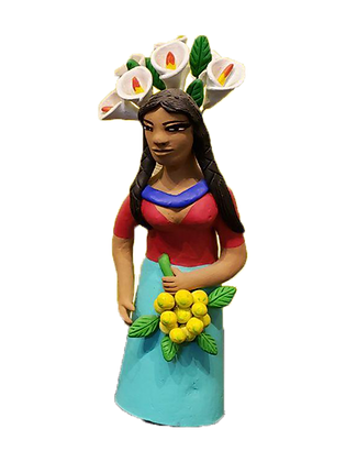 Market Woman holding lemons