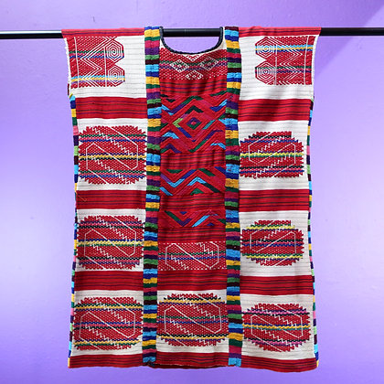 Oaxacan dress, red squares