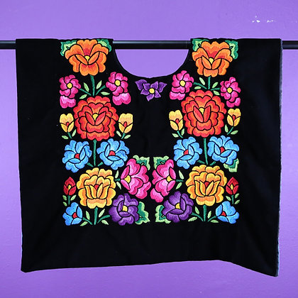 Black Velvet w/ Medium Orange flower Embroidered