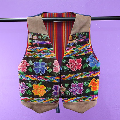 Guatemalan Vest - Tan, Embroidered flowers