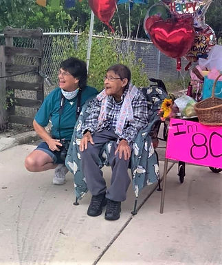 Deb and Nickie celebrating Nickie's 80th birthday in 2020.