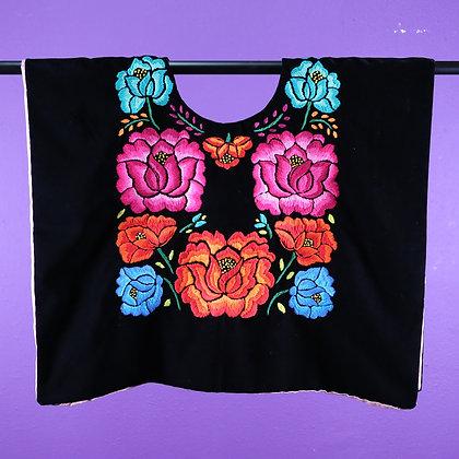 Black Velvet w/ Blue flower Embroidered on top