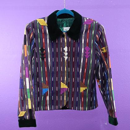 Guatemalan Jacket - Striped w/ Green Velvet