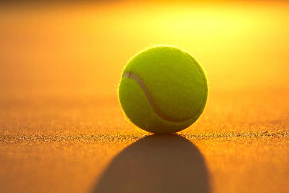 Tennis Ball on the Court Close Up at Sun