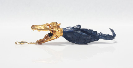 Designer and Sewing Tech: Aidan Barrow Metal Fabricator and Photographer: Christina Chivone  24 k Gold Plating Specialist: Nicolle Rodriguez   Materials: Alligator Leather Bronze 24k Gold Leaf 24k Gold Plating
