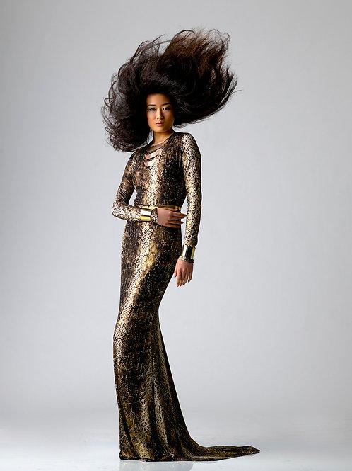 gold metallic python print gown