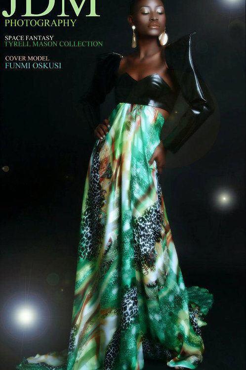 multi-color print chiffon gown w/contrast patent leather upper bra/sleeves