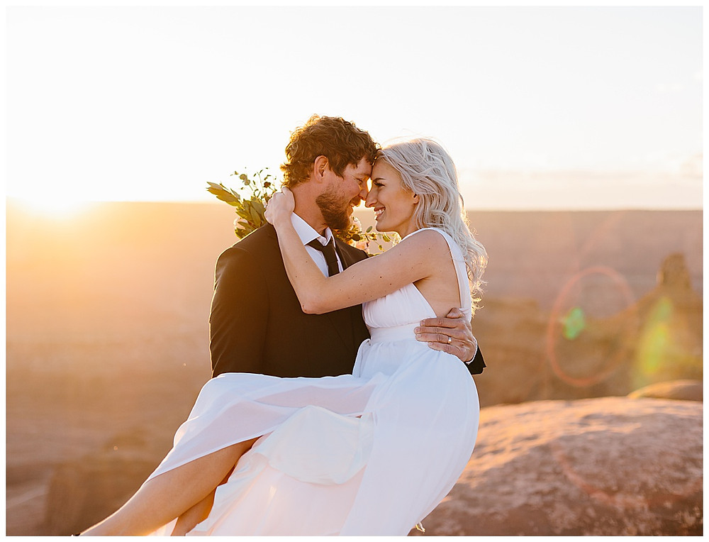 couple on their elopement day at dead horse point state park in Moab