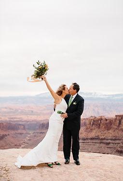 Moab utah elopement couple