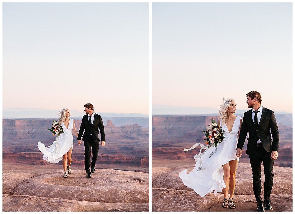 Elopement wedding at dead horse point state park in Moab Utah
