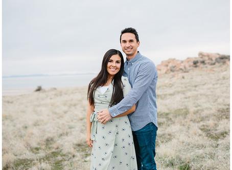 Antelope Island State Park, Utah Pregnancy Announcement | Marysa and Blake