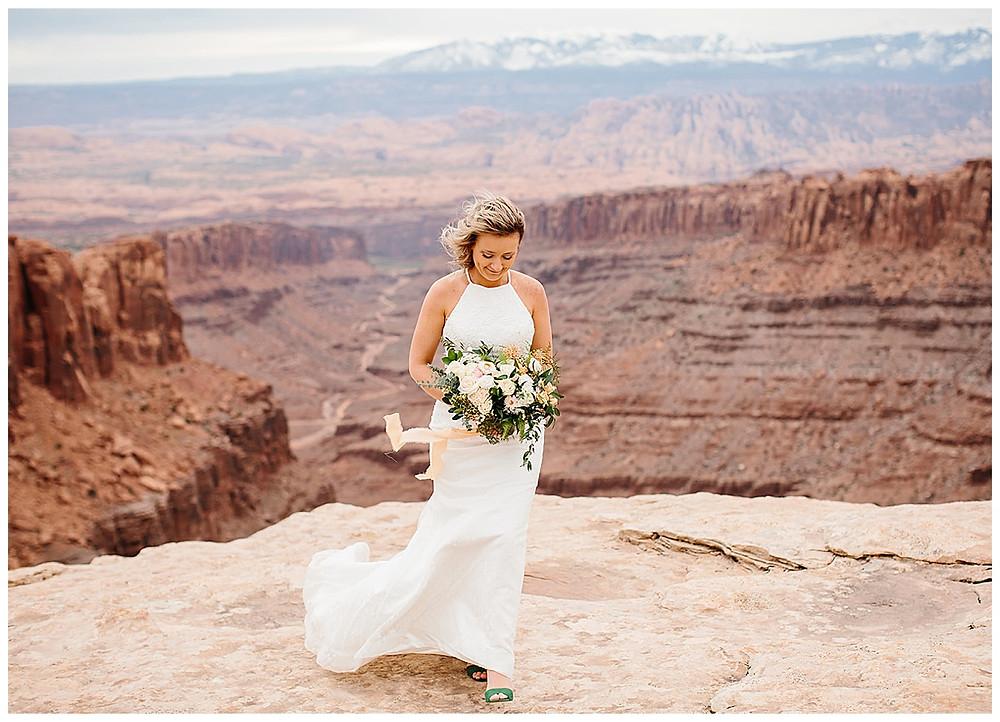 bride on her wedding day in Moab Utah