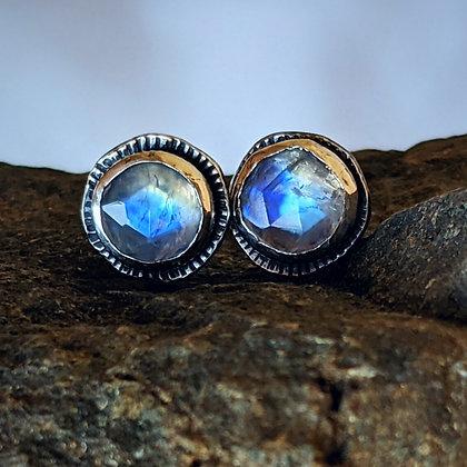Rainbow Moonstone Silver Studs