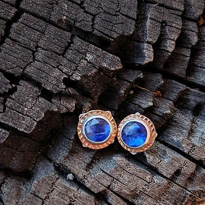 Bright Blue Kyanite Silver Studs