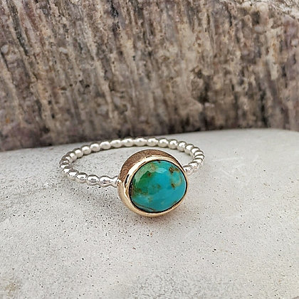 Turquoise Ring in Silver and Gold
