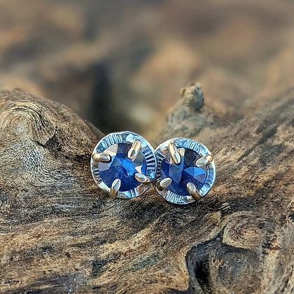 Blue Kyanite Gold and Silver Studs