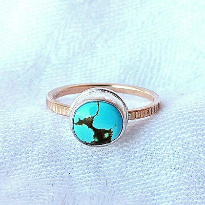 Turquoise Ring Silver and Gold