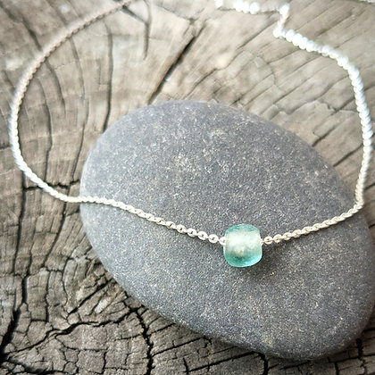 Silver Sea Glass Anklet