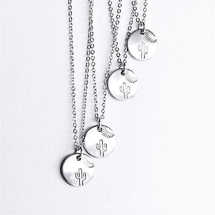 Silver  Saguaro Coin Necklace