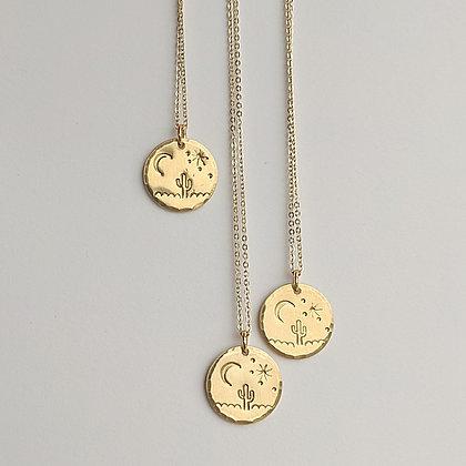Moonlit Saguaro Stamped Necklace