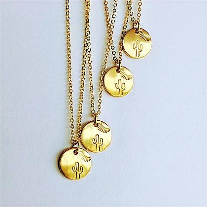 Sunbathing Saguaro Stamped Necklace