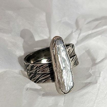 Biwa Pearl Ring on Textured Silver Band