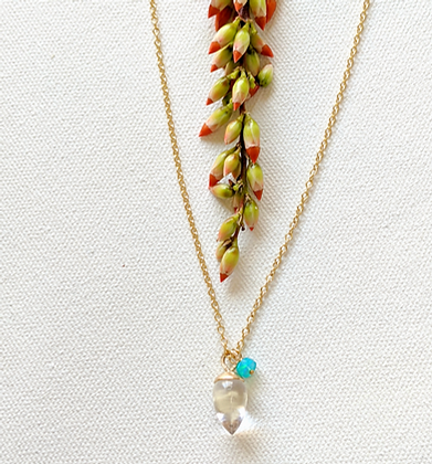 Crystal Quartz  + Blue Opal Necklace