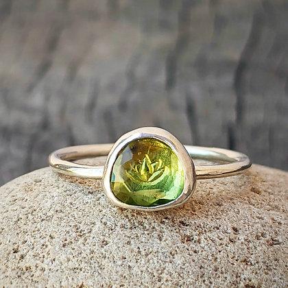 Rose Cut Peridot Ring