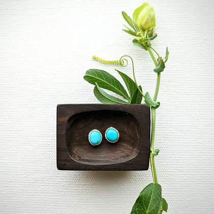 Light Blue Turquoise Silver Studs