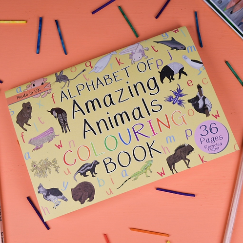 Alphabet of Amazing Animals Colouring Book