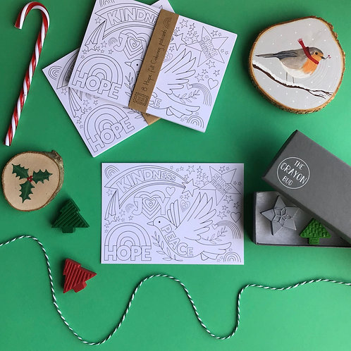 Pack of 8 Hope-full Christmas Postcards to Colour In