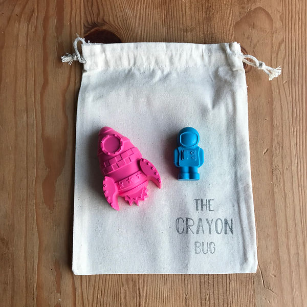 Giant rocket and astronaut crayons - the