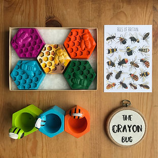 Giant honeycomb and bee crayons for char